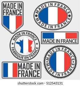 Made in France label set with flag, vector illustration