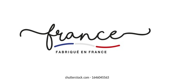 Made in France logo French language handwritten calligraphic lettering sticker flag ribbon banner