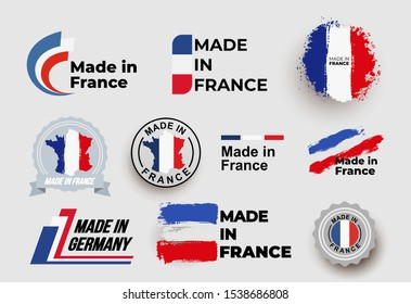 Made in France logo. Set of design France flag in map quality label icon. Vector illustration. Isolated on white background.