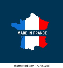 made in france map colorful logo. flat simple style trend modern french logotype graphic design on background. concept of pride for national product or colored manufacture or shopping premium icon