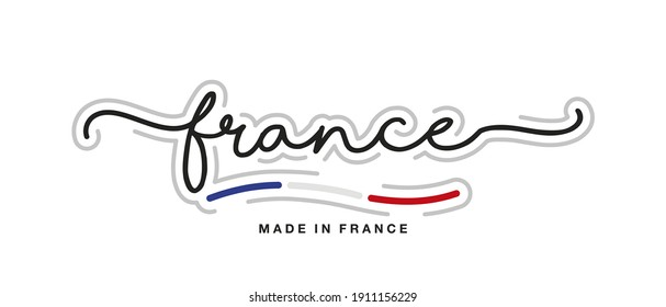 Made in France new modern handwritten typography calligraphic logo sticker French flag ribbon banner