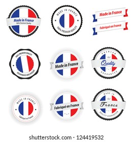 Made in France. Set of labels, badges and stickers