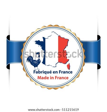 Map Of France In French Language.Made France Text French Language Fabrique Stock Vector Royalty Free