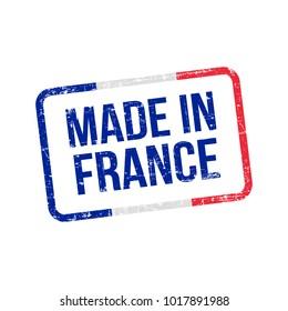 Made in France. Vector Flag Illustration design stamp label