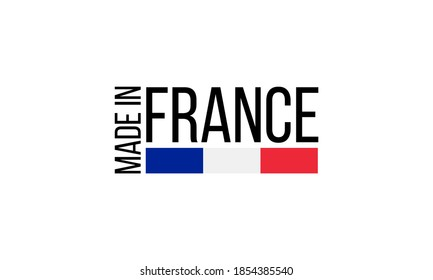 made in france, vector logo with french flag