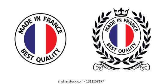 made in France   vector stamp. badge with France   flag