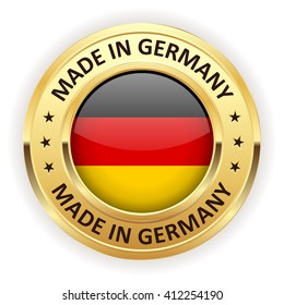 Made in germany button with gold border on white background