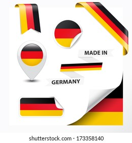Made in Germany collection of ribbon, label, stickers, pointer, badge, icon and page curl with German flag symbol on design element. Vector EPS10 illustration isolated on white background.