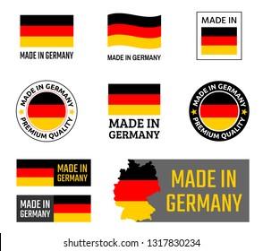 made in Germany labels set, German product emblem