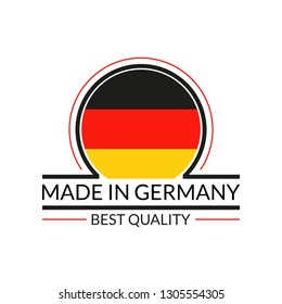 Made in Germany logo or badge with German circle flag. Best Quality icon. Vector illustration.