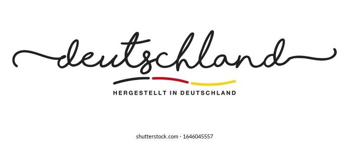 Made in Germany logo German language handwritten calligraphic lettering sticker flag ribbon banner