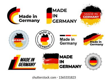 Made in Germany logo. Set of design German flag in map quality label icon. Vector illustration. Isolated on white background.
