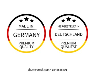 Made in Germany round labels (in English and in German languages). Quality mark vector icon. Perfect for logo design, tags, badges, stickers, emblem, product package, etc.
