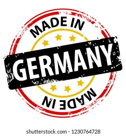 Made in the Germany rubber stamp icon isolated on white background. Manufactured or Produced in Federal Republic of Germany (Bundesrepublik Deutschland, FRG). Vector illustration