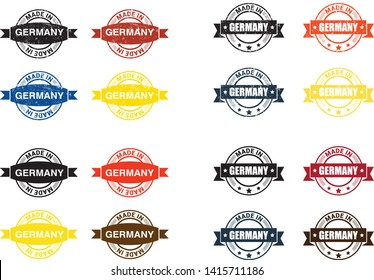 Made in the Germany rubber stamp icon isolated on white background. Manufactured or Produced in Federal Republic of Germany label (Deutschland, FRG). Vector illustration