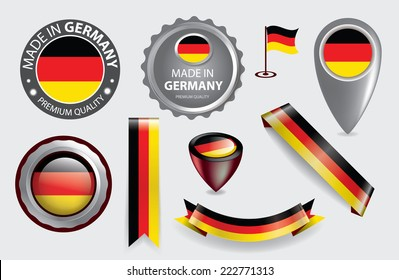 Made in Germany Seal Collection, German Flag (Vector Art)