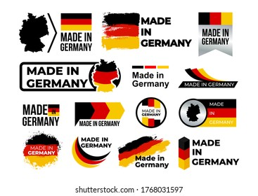 Made in Germany. Set of label, stickers, pointer, badge, symbol and page curl with German flag icon on design element. Vector illustration. Isolated on white background.