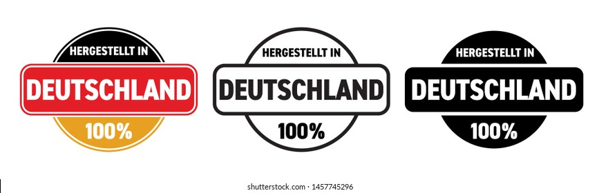 Made in Germany vector icon. Hergestellt in Deutschland, German made quality product label, 100 percent package logo stamp