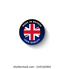 Made in Great Britain badge with Great Britain flag. Badge  with long shadow. Vector illustration.