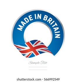 Made in Great Britain flag blue color label button banner