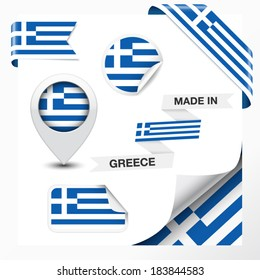 Made in Greece collection of ribbon, label, stickers, pointer, icon and page curl with Greek flag symbol on design element. Vector EPS 10 illustration isolated on white background.