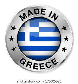 Made in Greece silver badge and icon with central glossy Greek flag symbol and stars. Vector EPS10 illustration isolated on white background.