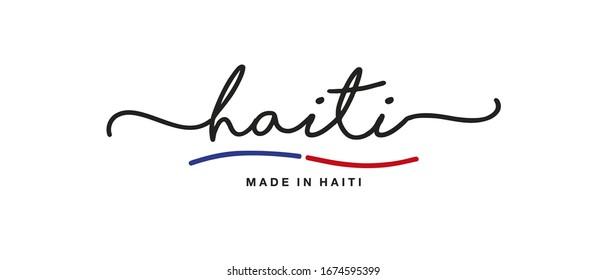 Made in Haiti handwritten calligraphic lettering logo sticker flag ribbon banner