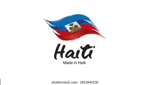 Made in Haiti handwritten flag ribbon typography lettering logo label banner