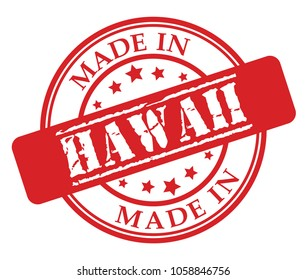 Made in Hawaii red rubber stamp illustration vector on white background