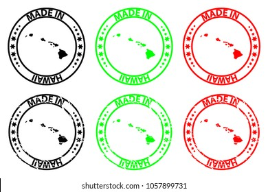 Made in  Hawaii - rubber stamp - vector,  Hawaii map pattern - black, green and red