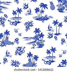 I made Hawaiian shore scenery a seamless pattern,