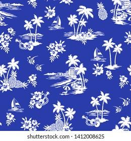 I made Hawaiian shore scenery a seamless pattern,