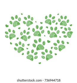 Made of heart with green paw print