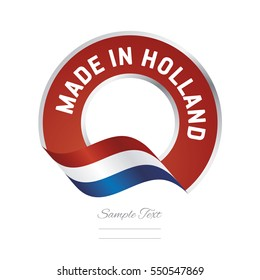 Made in Holland flag red color label button banner
