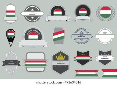 Made in Hungary Seal, Hungarian Flag (Vector Art)
