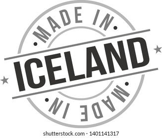 Made In Iceland. Europe Business Stamp. National Production Logo. Round Design Icon. Symbol Object Seal.