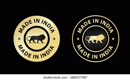 made in India icon vector illustration, made in India golden color emblem, design element for package design