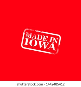 made in Iowa stamp. product of Iowa. rubber stamp with text made in Iowa