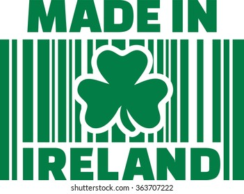 Made in ireland barcode with clover
