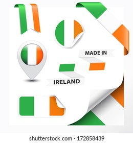 Made in Ireland collection of ribbon, label, stickers, pointer, badge, icon and page curl with Irish flag symbol on design element. Vector EPS10 illustration isolated on white background.