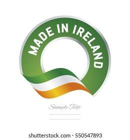 Made in Ireland flag green color label button banner