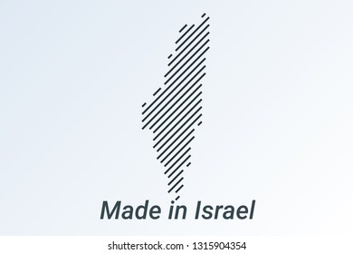 Made in Israel, striped map in a black strip on a silver background. vector illustration