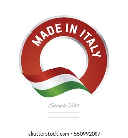 Made in Italy flag red color label button banner