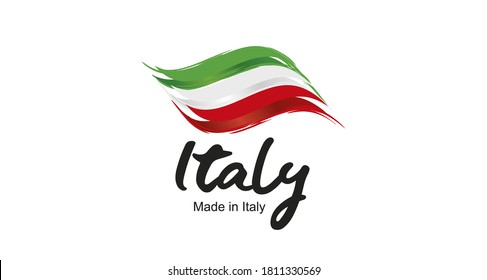 Made in Italy handwritten flag ribbon typography lettering logo label banner