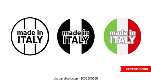 Made in Italy icon of 3 types: color, black and white, outline. Isolated vector sign symbol.