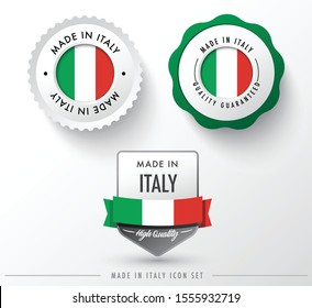 Made in Italy icon set isolated on white background ,for infographics and banner templates : Vector Illustration