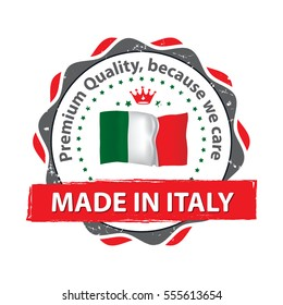 Made in Italy. Premium Quality, because we care- grunge label / sticker / badge with the Italian flag. Print colors used.