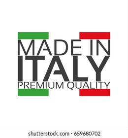 Made in Italy, premium quality sticker with Italian color, vector illustration