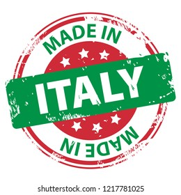 Made in Italy rubber stamp icon isolated on white background. Manufactured or Produced in the Italian Republic. Vector illustration