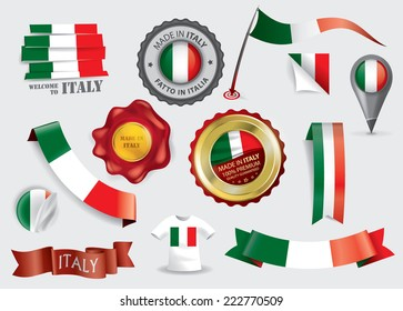 Made in Italy Seal Collection, Italian Flag (Vector Art)